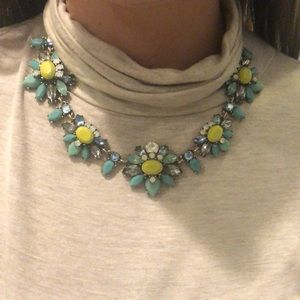 J. Crew turquoise and gold chunky necklace.